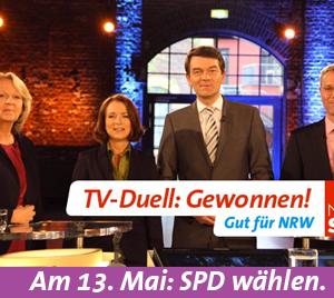 Nach dem TV-Duell zwischen Hannelore Kraft und Norbert Röttgen am 30. April 2012