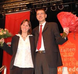 Der frisch gewählte SPD-Landratskandidat Florian Herpel und seine Frau Wiebke.