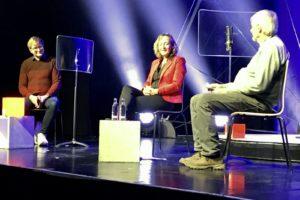 Rekewitz, Fröhling und Thomas auf der Bühne des Walzwerks